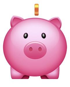 ピンクの豚の貯金箱アイコン